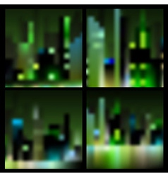 Set of abstract blur night city backgrounds vector image