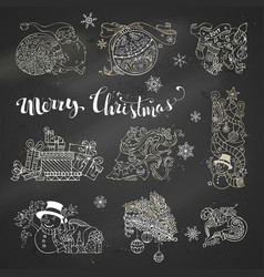 set of chalk christmas design elements on vector image