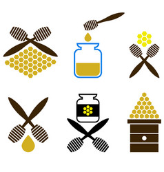 set of honey icon isolated vector image vector image