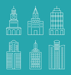 set outline buildings and houses vector image vector image