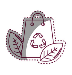 Sticker bag with recycling symbol and leaves vector