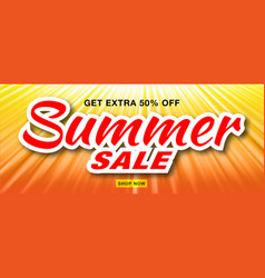 summer sale template banner with sun rays vector image