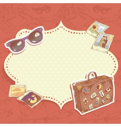 Travel postcard with suitcase vector image vector image