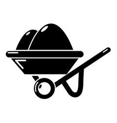wheelbarrow icon simple black style vector image vector image