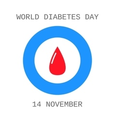 World diabetes day drop of blood flat icon vector