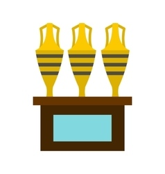Three egyptian vases icon flat style vector