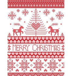 Merry xmas tall xmas pattern with reindeer vector image