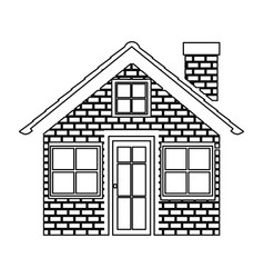 monochrome contour of house with brick wall vector image