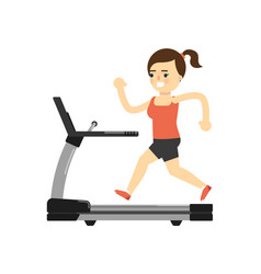 Sporty girl in sportswear running on treadmill vector
