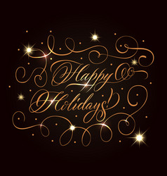 Golden holidays greeting composition vector