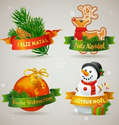 Merry christmas icons in different languages vector