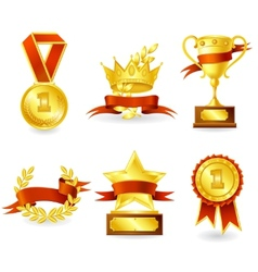 Trophy and prize emblem vector
