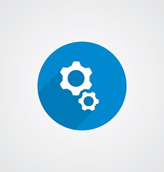 Flat blue settings icon vector