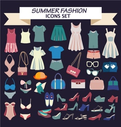 Fashion beautiful collection of woman clothes vector