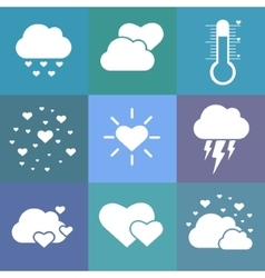 Flat love weather icons vector image