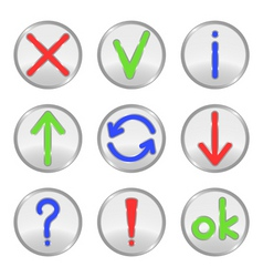 silver web buttons vector image