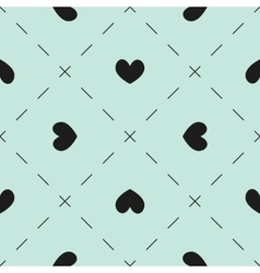 Hearts and dashes pattern vector