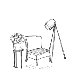 Intrior with chair and lamp vector