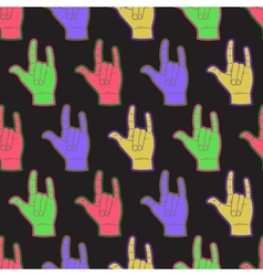 Rock hands coloful seamless pattern vector