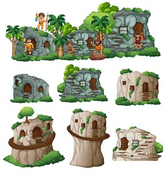 Cavemen and houses in the mountain vector