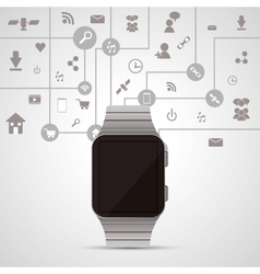 Watch and icon set wearable technology design vector