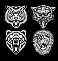 Set of angry animal heads vector