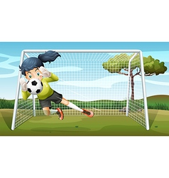 A sporty young girl playing football vector