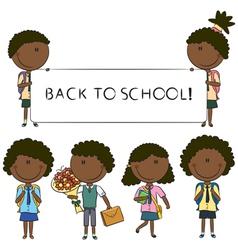 African-American school kids vector image vector image