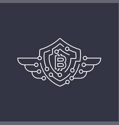 bitcoin logo the concept of protection editable vector image
