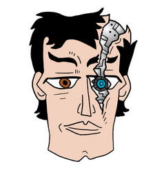 broken robot face vector image vector image