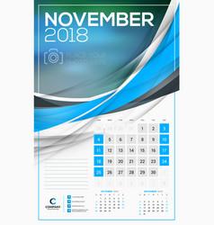calendar template for 2018 year november design vector image vector image