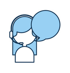 call center agent with speech bubble avatar vector image