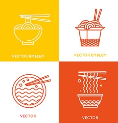 Chinese and asian food concepts vector