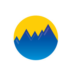 Circle mountain hiking logo vector