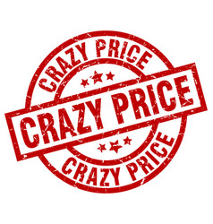 Crazy price round red grunge stamp vector