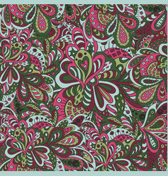 Doodle floral seamless pattern rose and green vector
