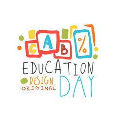 education label original design with cubes vector image