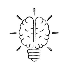 Figure brain bulb to crative ideas solutions vector