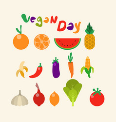 fruit vegetable collection flat color vector image vector image