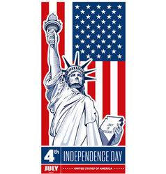 Independence day statue of liberty usa flag vector