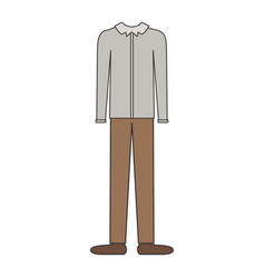 male clothes with long sleeve shirt and pants and vector image