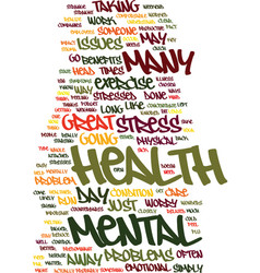 Mental health text background word cloud concept vector