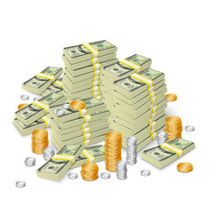 Money stack banknotes and coins concept vector image