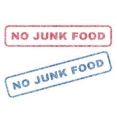 No junk food textile stamps vector