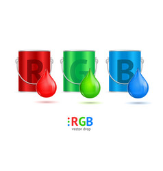 realistic color metall can bucket and drop set vector image vector image