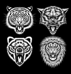 Set of angry animal heads vector