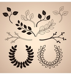 Set of Decorative Vintage Branches and Wreathes vector image vector image