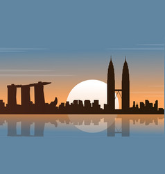 Silhouette of city tour malaysia and singapore vector