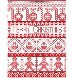 Tall merry xmas pattern with gingerbread man xmas vector