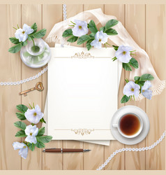 top view background with white flowers vector image vector image